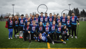 The UBC Thunderbirds posing with their gold medals after the Quidditch Canada Western Regional finals in Abbotsford, B.C. Photo credit to Lara Hiles.